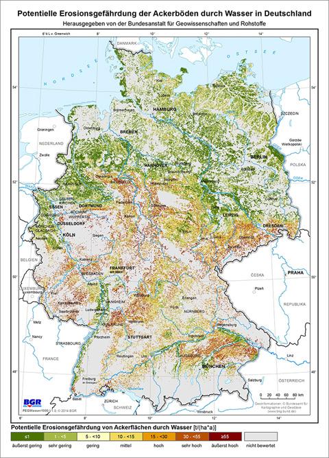 Übersichtskarte Bodenerosion