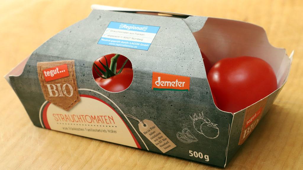 Bio-Tomaten in Pappschachtel ohne Plastik